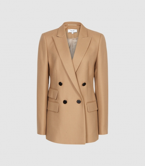 Reiss Ledbury - Wool Blend Double Breasted Camel, Womens, Size 4 Jacket