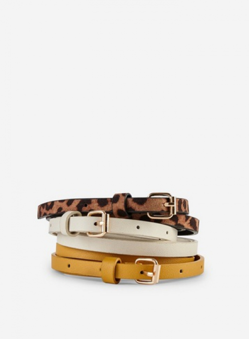 Dorothy Perkins 3 Pack Multi Colour Leopard Print Skinny Belt