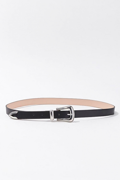 Forever21 Forever 21 Etched Faux Leather Hip , Black Belt