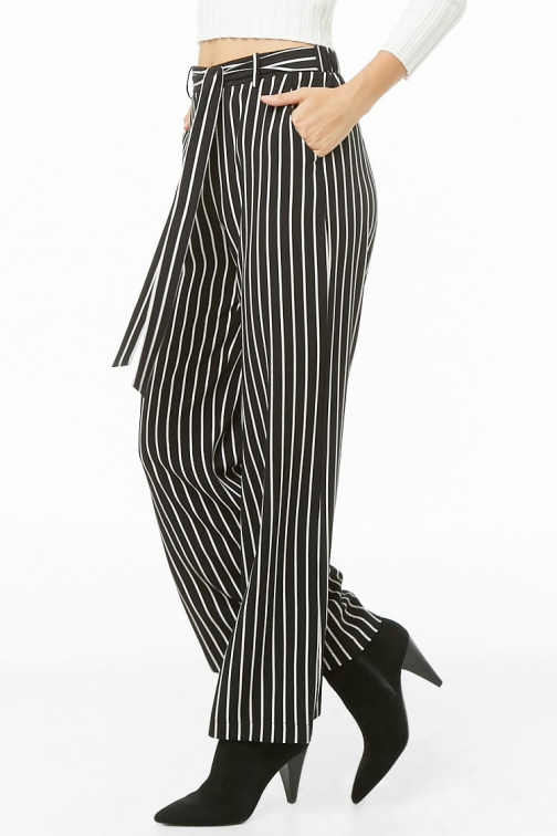 Forever21 Forever 21 Pinstriped Palazzo Pants Black/ivory Trouser