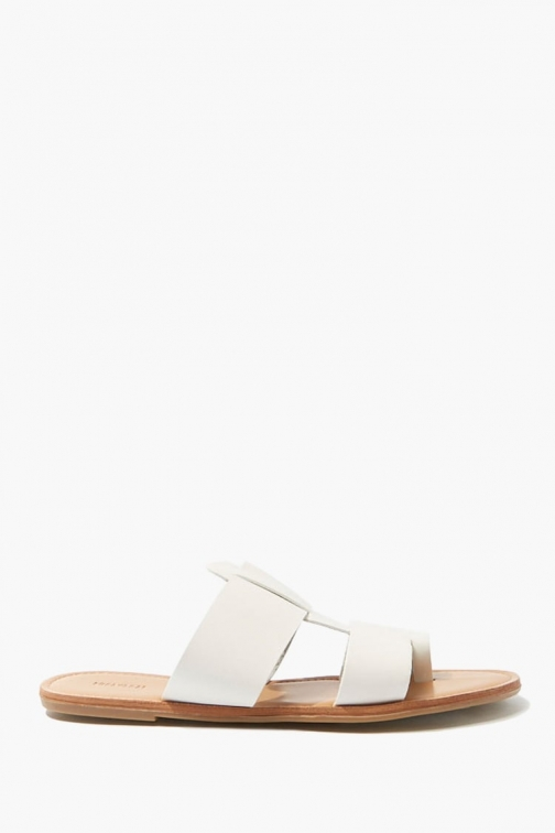 Forever21 Forever 21 Cutout-Vamp Faux Leather , White Sandals