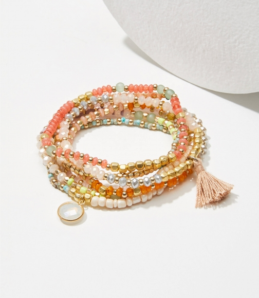 Loft Mixed Beaded Stretch Set Bracelet