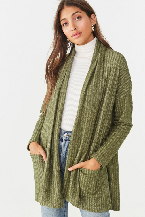 Forever21 Forever 21 Brushed Ribbed , Olive Cardigan