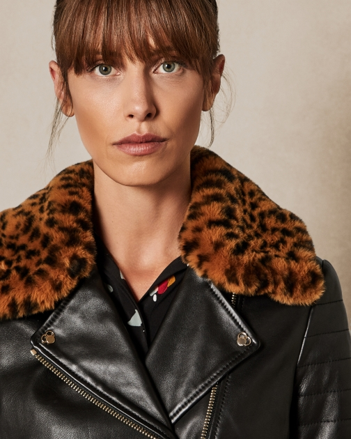 Ted Baker Leopard Print Faux Fur Collar