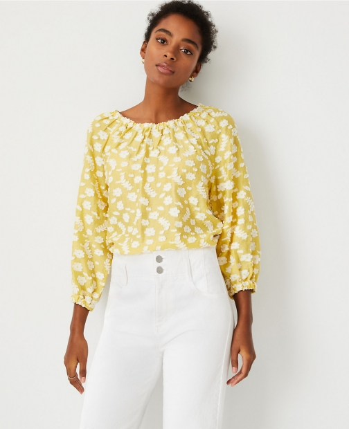 Ann Taylor Petite Floral Clip Gathered Boatneck Top