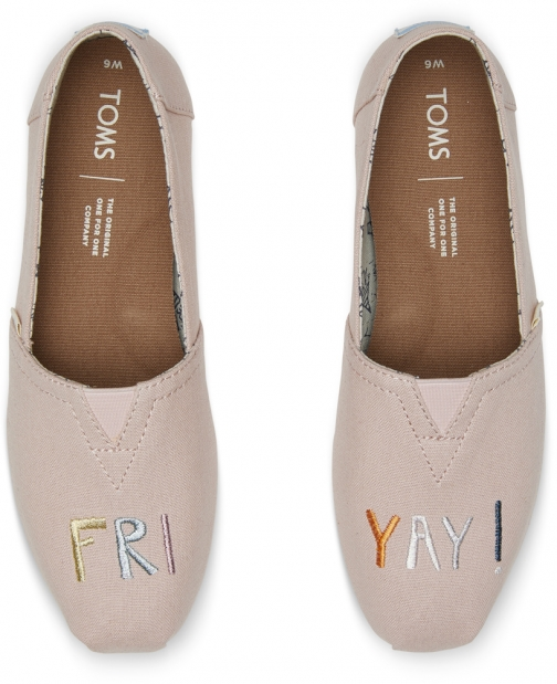 Toms Rose Gold Embroidered Friyay Women's Classics Slip-On Shoes
