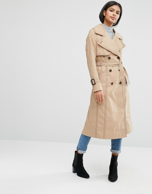 Asos Midi Mac With Oversized And Stitch Detail Collar