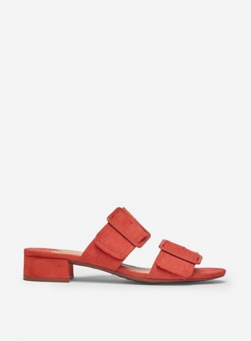 Dorothy Perkins Wide Fit Orange 'Bibi' Two Part Buckle Mules Shoes