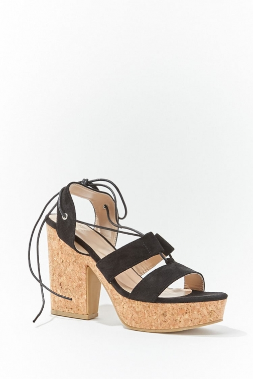 Forever21 Forever 21 Lace-Up Block Heels , Black Shoes