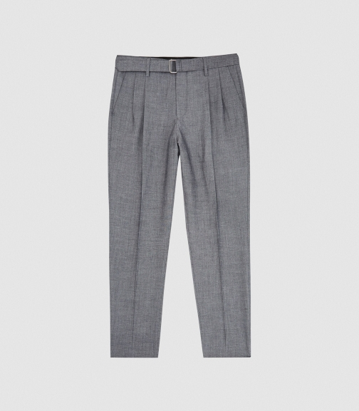 Reiss Kace - Belted Slim Fit Trousers Grey, Mens, Size 34 Trouser