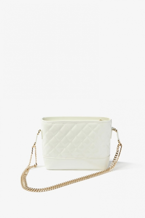 Forever21 Forever 21 Quilted Faux Patent Leather , White Shoulder Bag