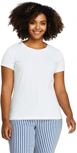 Lands' End Women's Plus Size Lightweight Fitted Short Sleeve Crewneck - Lands' End - White - 1X T-Shirt