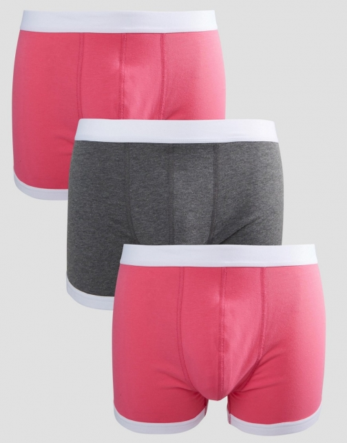Asos Trunks Pink With Contrast Binding 3 Pack