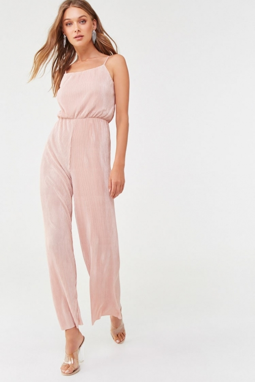 Forever21 Forever 21 Cami Micro-Pleat , Blush Jumpsuit