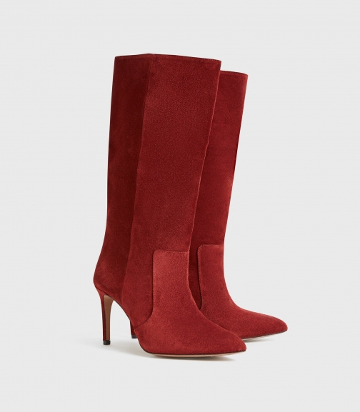 Reiss Lily - Suede Point Toe Rust, Womens, Size 4 Boot