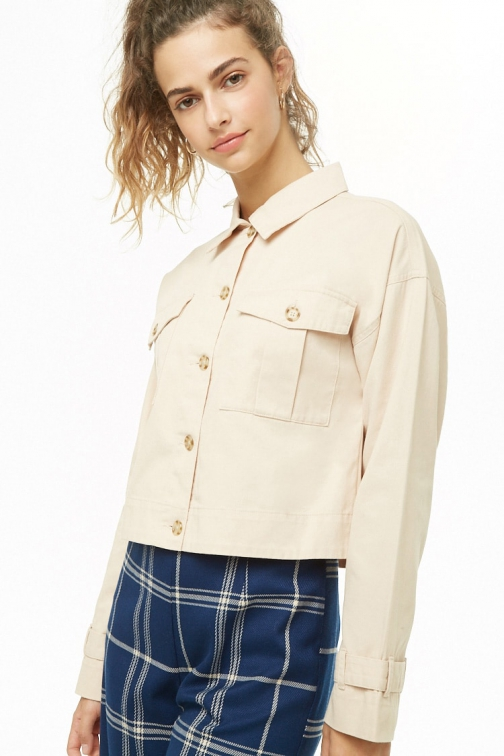 Love21 Semi-Cropped Button-Down At Forever 21 , Taupe Jacket
