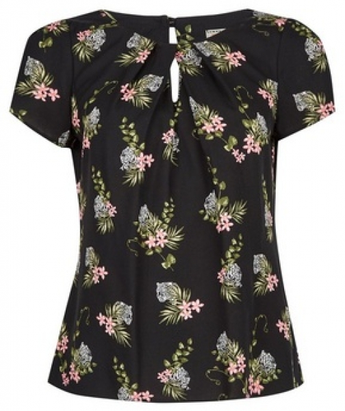 Billie & Blossom Petite Black Tiger And Floral Print Shell Top