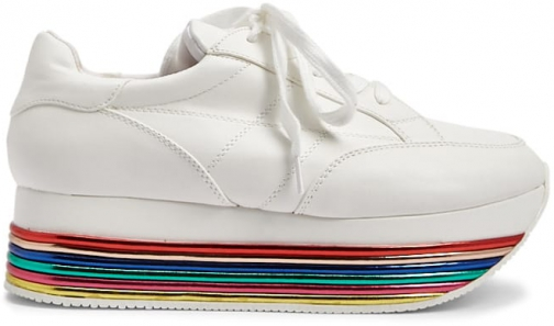 Forever21 Forever 21 Rainbow Striped Low Top Sneakers White Trainer