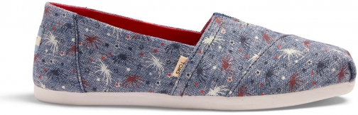 Toms Glow The Dark Fireworks Canvas Women's Classics Ft. Ortholite Slip-On Shoes