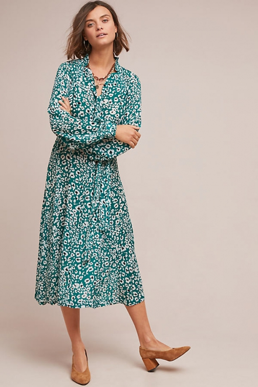 Anthropologie Cecile Leopard-Print Midi Dress