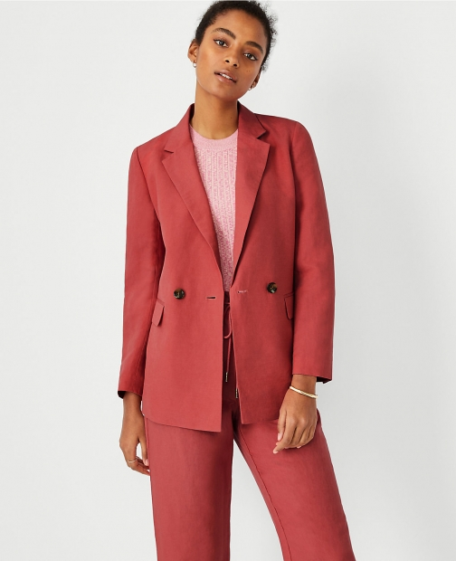 Ann Taylor Linen Blend Relaxed Double Breasted Long Blazer