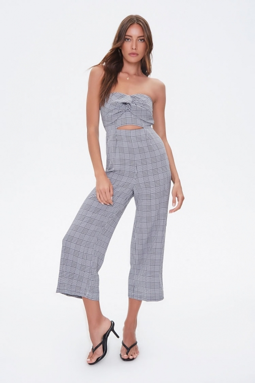 Forever21 Forever 21 Plaid Knotted Cutout , Black/cream Jumpsuit