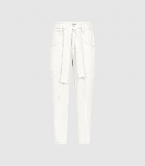 Reiss Chantelle - Mid Rise Tapered Ecru, Womens, Size 24 Jeans