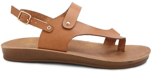 Forever21 Forever 21 Faux Leather Thong , Tan Sandals