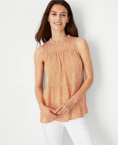 Ann Taylor Petite Dotted Tiered Ruffle Neck Top Shirt