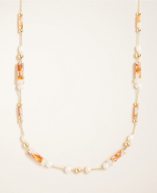 Ann Taylor Pearlized Tortoiseshell Print Station Necklace