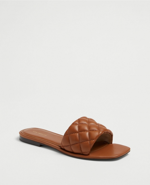 Ann Taylor Zoe Quilted Leather Flat Slide Sandals