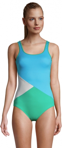 Lands' End Women's Chlorine Resistant Scoop Neck Soft Cup Tugless Sporty One Piece - Lands' End - Blue - 2 Swimsuit