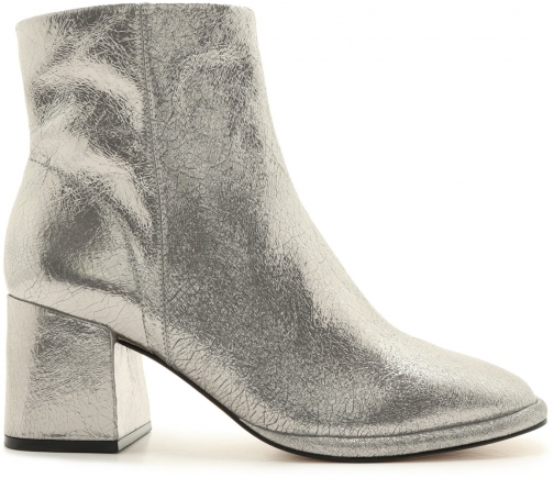 Schutz Shoes Mariane Leather Bootie - 8 AGED SILVER NEW CRAQUELE Boot