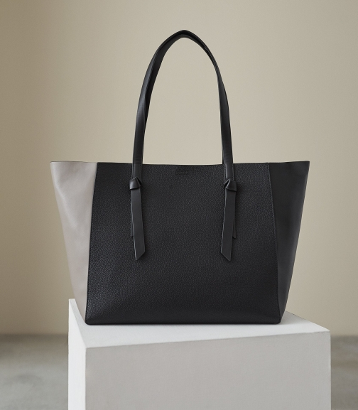 Reiss Kate - Leather Bag Grey/black, Womens Tote