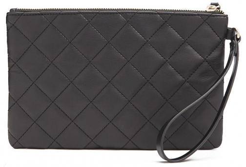 Forever21 Forever 21 Faux Leather Quilted , Black Clutch