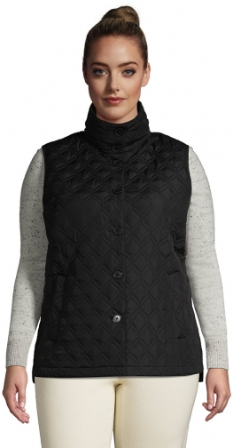 Lands' End Women's Plus Size Insulated Packable Quilted Barn Vest - Lands' End - Black - 1X Top