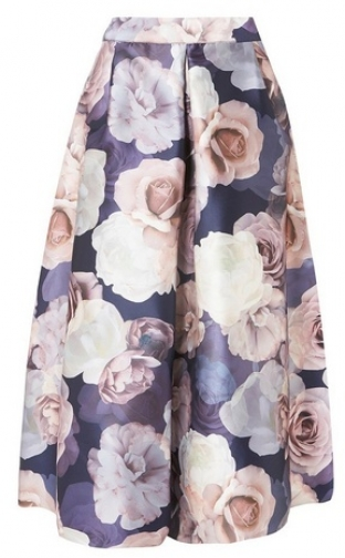 Dorothy Perkins Womens **Luxe Multi Coloured Dark Floral Print - Multi Colour, Multi Colour Skirt