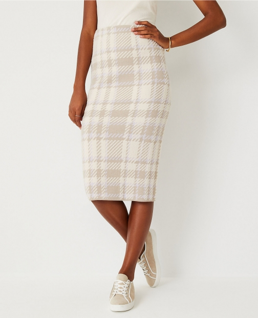 Ann Taylor Petite Plaid Sweater Pencil Skirt