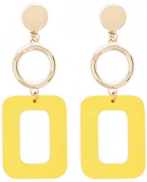 Forever21 Forever 21 Cutout Square Drop , Gold/mustard Earring