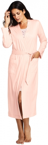 Lands' End Women's Supima Cotton Long - Lands' End - Pink - XS Robe
