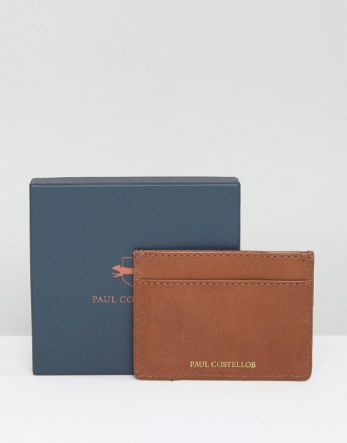 Paul Costelloe Leather Card Holder Criss Cross Tan With Multi Contrast Accessorie