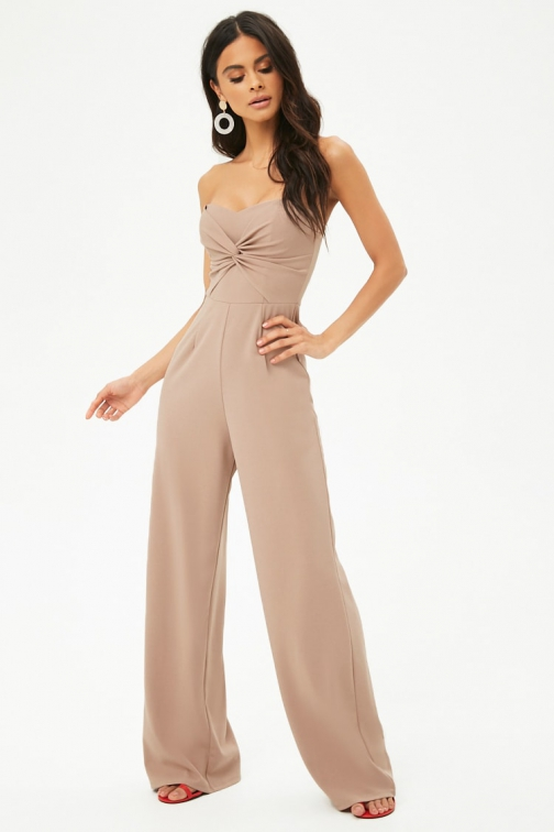 Forever21 Forever 21 Twist-Front Tube Taupe Jumpsuit