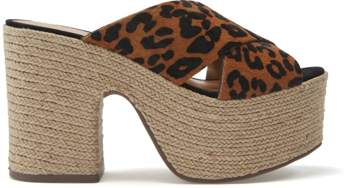 Schutz Shoes Lora Wedge Slide - 5 Sandstone Leopard Printed Pony Hair Wedge Sandal
