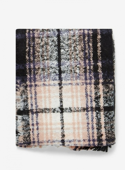Dorothy Perkins Womens Multi Colour Boucle Checked - Pink, Pink Scarf