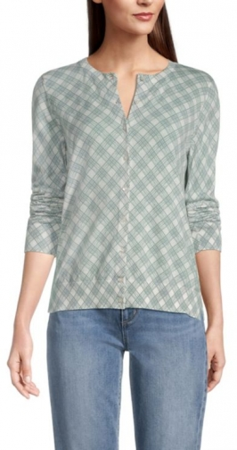 Loft Gingham Crew Neck Cardigan