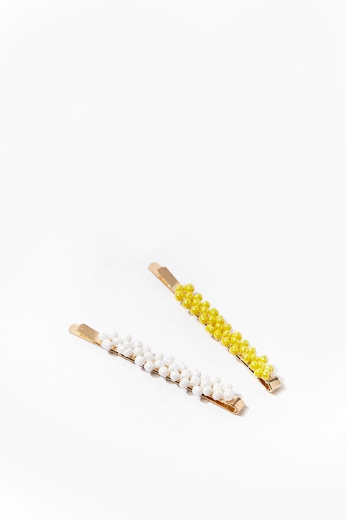 Forever21 Forever 21 Beaded Bobby Set , Yellow/white Pin