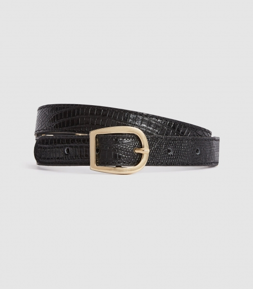 Reiss Danielle - Slim Leather Black, Womens, Size L Belt