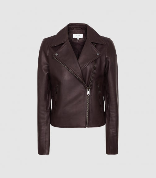 Reiss Geo - Leather Oxblood, Womens, Size 4 Biker Jacket