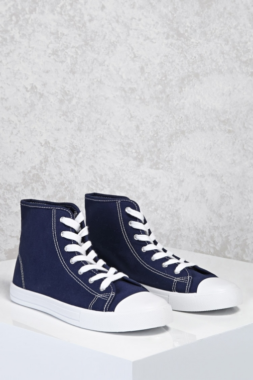Forever21 Forever 21 High-Top Sneakers , Navy Trainer