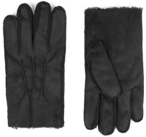 Topman Mens Black Leather Faux Shearling Lined , Black Glove